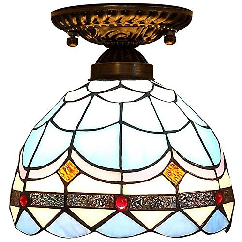 Tiffany Style Ceiling Lights,European Creative Stained Glass Lamp, Mediterranean Ceiling Light, Corridor Balcony Light,6 inches, E27.