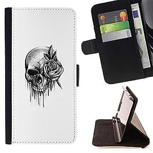 BullDog Case - FOR/HTC One M9 / - / skull rose rock roll death metal ink /- Monedero de cuero de la PU Llevar cubierta de la caja con el ID Credit Card Slots Flip funda de cuer