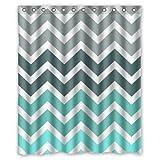 Chevron Pattern Turquoise shower curtain 60x72 inch