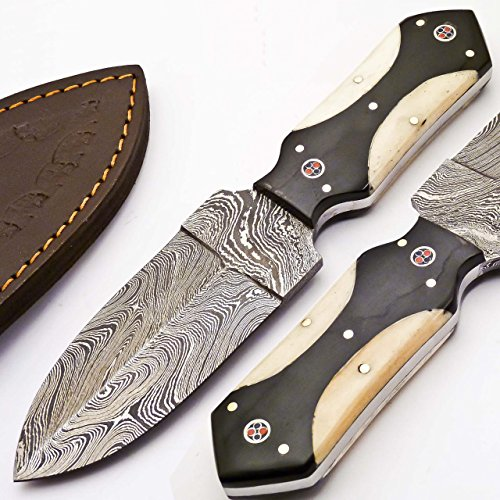 CUSTOM DAMASCUS DAGGER KNIFE BLACK HORN & CAMEL BONE HANDLE (H-640)