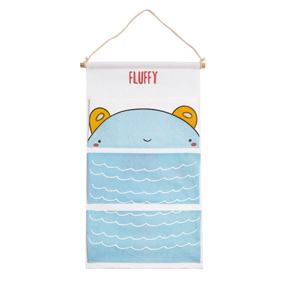 Cute Animal Fabric Wall Door Closet Hanging Storage Bag Small Cotton Hanging Pocket Door Hanging Organizer 3 Pockets OPOO