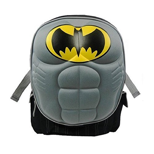 Superman 16 Inch Backpack with Padded Chest Plate (Batman 3DChest (Black)) by Fast Forward ()
