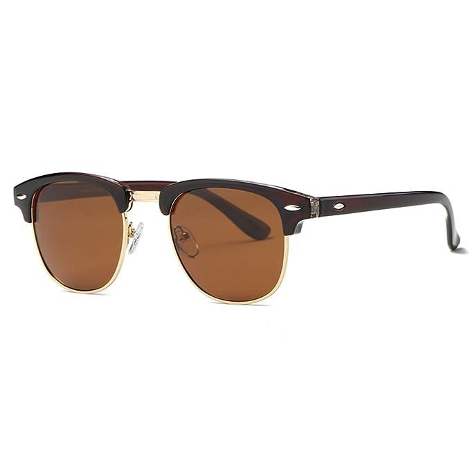 kimorn Polarizado Gafas de sol Unisex Retro Semi-Rimless marco gafas clásicas AE0550 (Marrón&Oro