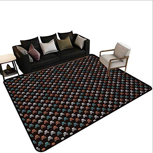 AlEASYHOME Indoor/Outdoor Floor Mat, Different Colored Graphic Skull Figures with Bones on Black Background Halloween, 3′x3.9′ Easy Clean, Multicolor