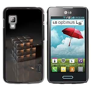 Be Good Phone Accessory // Dura Cáscara cubierta Protectora Caso Carcasa Funda de Protección para LG Optimus L5 II Dual E455 E460 // Metal Cube
