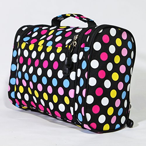 Cosmetic Bag - MakeUp Organizer - Lightweight Hanging Toiletry Travel Bag with Multiple Compartments in Polka Dot, Durable, Stylish & Fun by show & tell (Image #5)