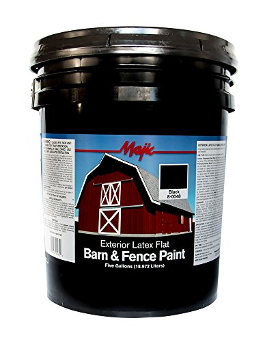 Majic Paints 8-0048-5 Latex Flat Barn & Fence Paint, 5-Gallons, Black (5 Gallon Flat)