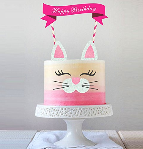 Handmade Kitty Cake Topper Decoration,Food Picks Baby Shower Cake Decor And Birthday Party Picks ()