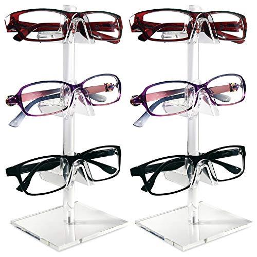 Mooca 2 Pieces Set Acrylic Eyewear Frame Display, 3 Frames for Each Holder 2 Piece Frame Set