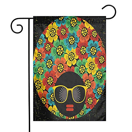 duommhome 70s Party Garden Flag Abstract Woman Portrait Hair Style with Colorful Flowers Sunglasses Lips Graphic Decorative Flags for Garden Yard Lawn W12 x L18 -