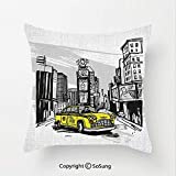 Sketchy Linen Throw Pillow Cushion,Yellow Hand Drawn Cab in New York Street Cityscape American Urban Life Art,17.7x17.7Inches,for Sofa Bedroom Car & Home Decorate Black Taupe Yellow