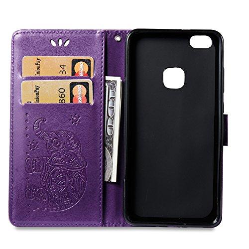 Funda Huawei Honor 8 Pro, Carcasa Huawei Honor V9, CaseLover Piel Libro Cuero Elefante Impresión Carcasa para Huawei Honor 8 Pro / Honor V9 con TPU Silicona Case Cover Interna Suave Flip Folio Tapa y  Púrpura