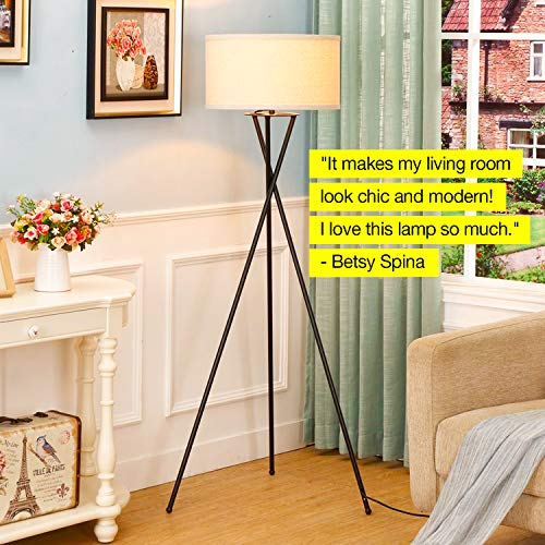 Brightech Jaxon Tripod LED Floor Lamp – Mid Century Modern, Living Room Standing Light – Tall, Contemporary Drum Shade Lamp for Bedroom or Office – Black by Brightech (Image #5)