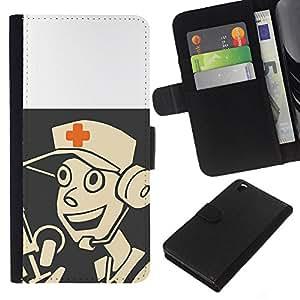 HTC DESIRE 816 - Dibujo PU billetera de cuero Funda Case Caso de la piel de la bolsa protectora Para (Medic - Tf 2 Game Gaming)