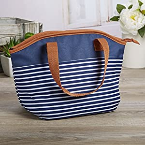 Fit & Fresh Samantha Insulated Lunch Bag, Stylish Lunch Tote for Kids and Adults, Navy Nautical Stripe with Brown Trim