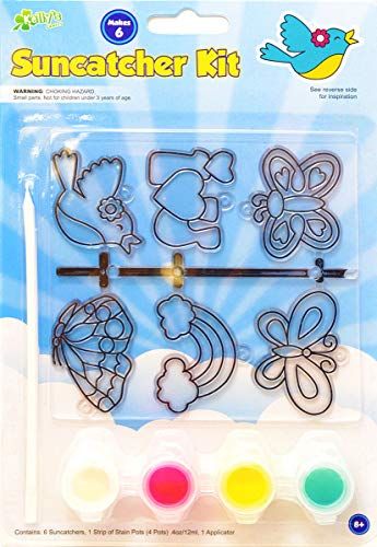 (Kelly's Crafts 6 Piece Suncatcher Kit - Butterflies, Birds, and Rainbows)