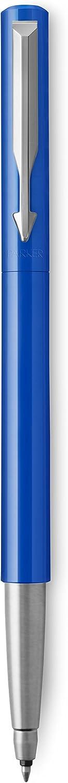 blau mit Chromzierteilen, Mittlere Schreibspitze, blaue Tinte, Geschenkbox Parker Vector Kugelschreiber