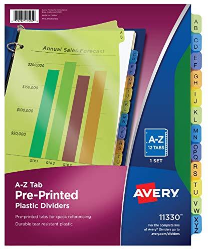 Avery 11330 Preprinted Plastic Tab Dividers, 12-Tab, Letter