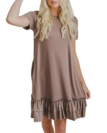 718bc2d833a Youxiua Womens Summer Short Sleeve Ruffles Loose Fitting Swing T Shirt  Plain Mini Dress with Pockets