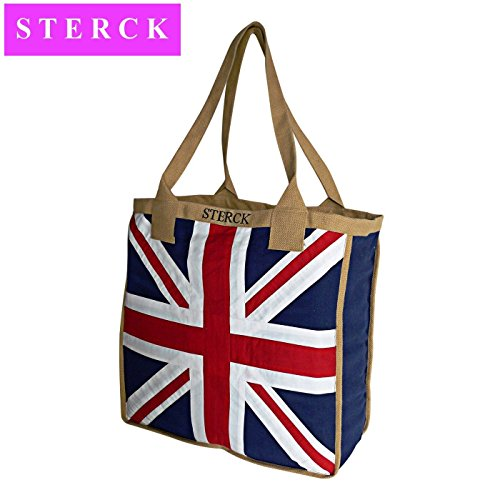 Union Jack Bags - Sterck Union Jack Appliqued Fabric Big Shoulder Bag