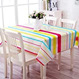 JINLE Colorful Striped Tablecloth Plastic PEVA dustproof and oilproof Tablecloth Perfect for Fall, Thanksgiving, Dinner Parties, Christmas, Picnics & Potlucks or Everyday Use 130x180cm/50x70Inch