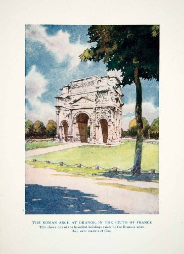 1920 Color Print Triumphal Archway Orange France Via Agrippa Gallic Wars Roman - Original Color (Archway Poster Print)