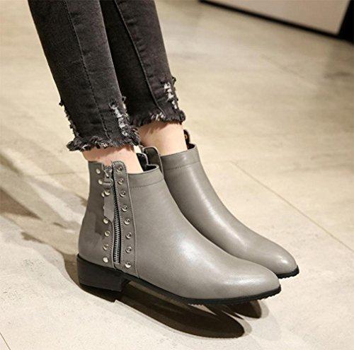 inverno stivali basse scarpe rivetti donne stivali scarpe mercato donne a stivaletti autunno e cavalieri grey di grandi donne KUKI buon qvE0B