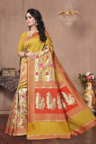 Da Facioun Saris Indiens Pour Les Femmes Portent Partie Concepteur De Mariage Sari Jaune Ethnique Traditionnel Sari