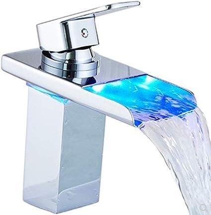 (Luz LED hidroeléctrica) LED RGB luz cromada cascada grifo de lavabo de baño hidroeléctrico, 3 colores LED grifo moderno (bajo, plata)
