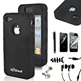 iphone 4 front screen protector - SQDeal Hybrid Hard Case Protective Cover with Touch Stylus Pen, Front Back Screen Protector, Dust Plug, Earphone for iPhone 4/4s - Black