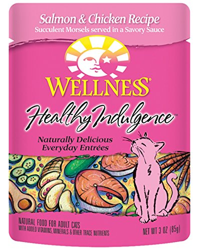 Wellness Healthy Indulgence Natural Wet Cat Food, Salmon & Chicken, 3-Ounce Pouch (Pack of 24)