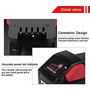 18V 5.0Ah Replace for Milwaukee M18 Battery M18B 48-11-1820 48-11-185048-11-1828 48-11--10 Cordless Power Tools 2Packs