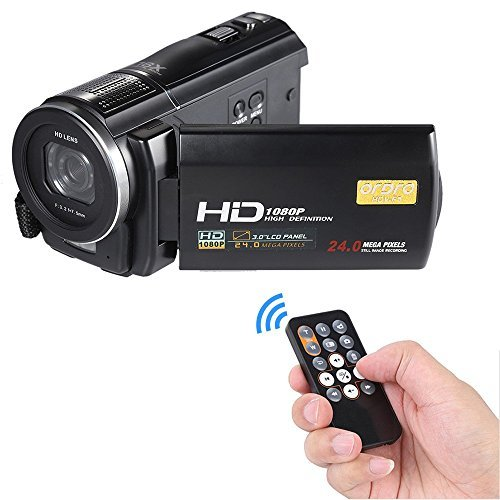 ORDRO Full HD Digital Video Camera Recorder LCD Touch Screen 1080P 3.0-in Rotatable Camcorder DV DVR 24MP 16X Digital Zoom Anti-shake with Remote Controller