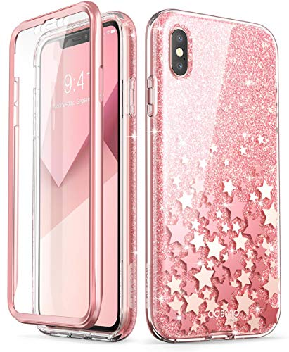 Great iPhone Xs Max Case, [Built-in Screen Protector] i-Blason [Cosmo] Full-Body Glitter Bumper Case for iPhone Xs 6.5 Inch 2018 Release (Pink)