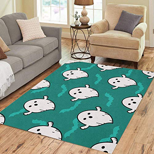 Semtomn Area Rug 5' X 7' Ghost Blue Pattern Doodle Cartoon Emojie Character Cute Little Home Decor Collection Floor Rugs Carpet for Living Room Bedroom Dining -