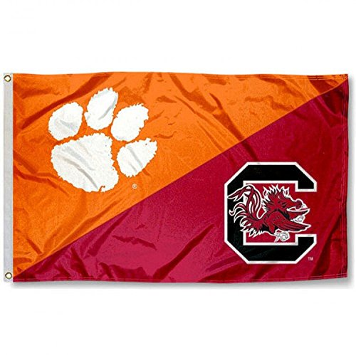 College Flags and Banners Co. Clemson vs. USC Gamecocks House Divided 3x5 Flag