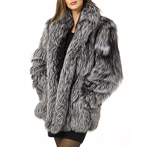 Rvxigzvi Womens Faux Fur Coat Parka Jacket Long Trench Winter Warm Tops Outerwear Overcoat Plus Size M-4XL (Silver Grey, XXL) by Rvxigzvi (Image #1)
