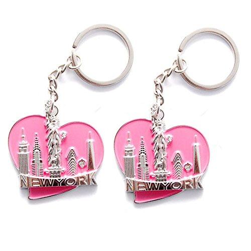 New York NYC NY Keychain Metal - Love Heart New York Keychain with New York City NYC Souvenir (Pack 2, Love)