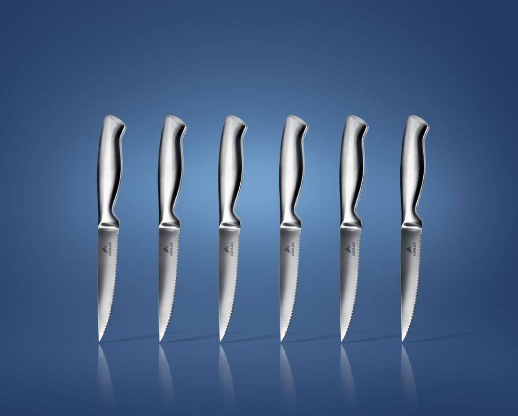 Amazon.com: Ashlar Steak Knives Set of 6 Serrated Stainless Steel ...