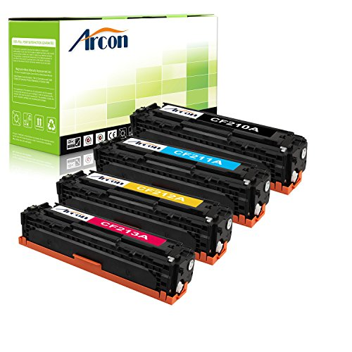 ARCON 4PK Black Cyan Yellow Magenta Replacement for HP 131A CF210A CF211A CF212A CF213A Toner Cartridge For HP LaserJet Pro 200 color M251n M251nw MFP M276n M276nw, Canon imageClass MF8280Cw