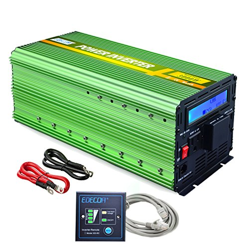 EDECOA Power Inverter 3000 Watt DC 24V to AC 120V Power Converter with LCD Display and Remote Controller - Green (Automatic Fan Controller)