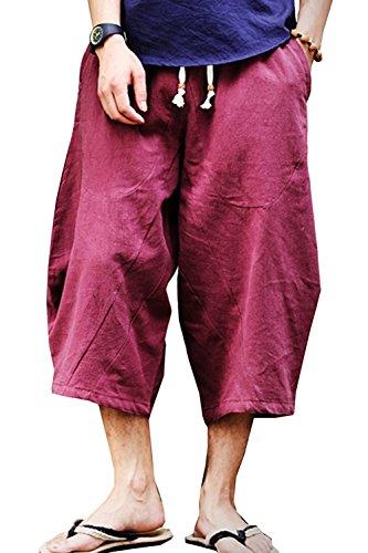 sandbank Mens Summer Casual Lounge Baggy Patchwork Linen Shorts Harem Capri Pants (Waist:33