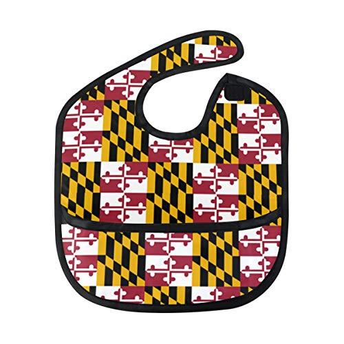 Maryland Flag Pride Baby Bibs Waterproof,Washable,Baby Teething Bib 6-24 Months ()