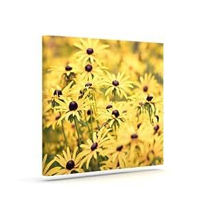 "Kess InHouse Debbra Obertanec ""Pantone Yellow"" Flower Daisy Outdoor Canvas Wall Art, 10 by 12-Inch"