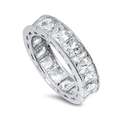 Blue Apple Co. 6mm Full Eternity Stackable Band Ring Radiant Cut Cubic Zirconia 925 Sterling - Radiant Band Eternity Cut