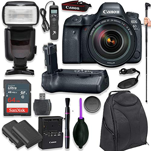 Canon EOS 6D Mark II DSLR with EF 24-105mm f/4L is II USM Lens with Pro Camera Battery Grip, Professional TTL Flash, Deluxe Backpack, Spare LP-E6 Battery (17 Items)