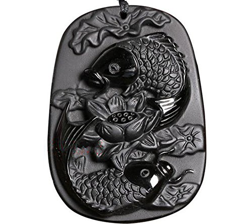 c1lint7785631 Natural Obsidian Silver Lotus Flower Dragonfly Fish Carp Necklace Pendant