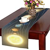 InterestPrint Solar System Polyester Fabric Table Runner Placemat 16 x 72 inch, Planets around the Sun Table Cloth for Office Kitchen Dining Wedding Party Home Decor