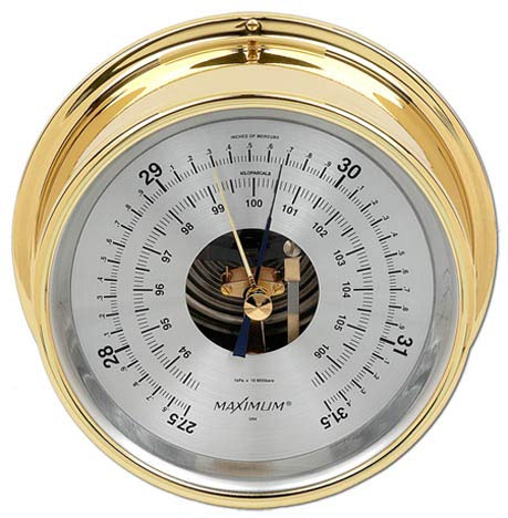 Maximum Weather Instruments Proteus Barometer - Brass case, Silver dial