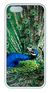 waterproof covers splendid peacock TPU White Case for iphone 5/5S